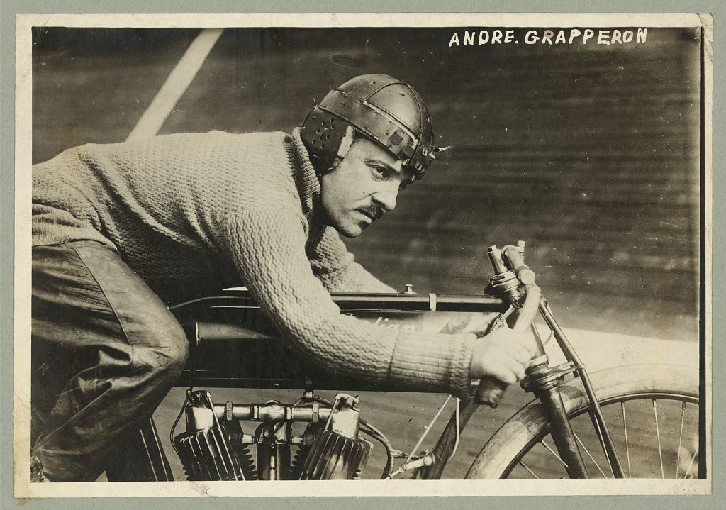 André Grapperon, a French champion motorcyclist at a board track somewhere in the U.S., 1913