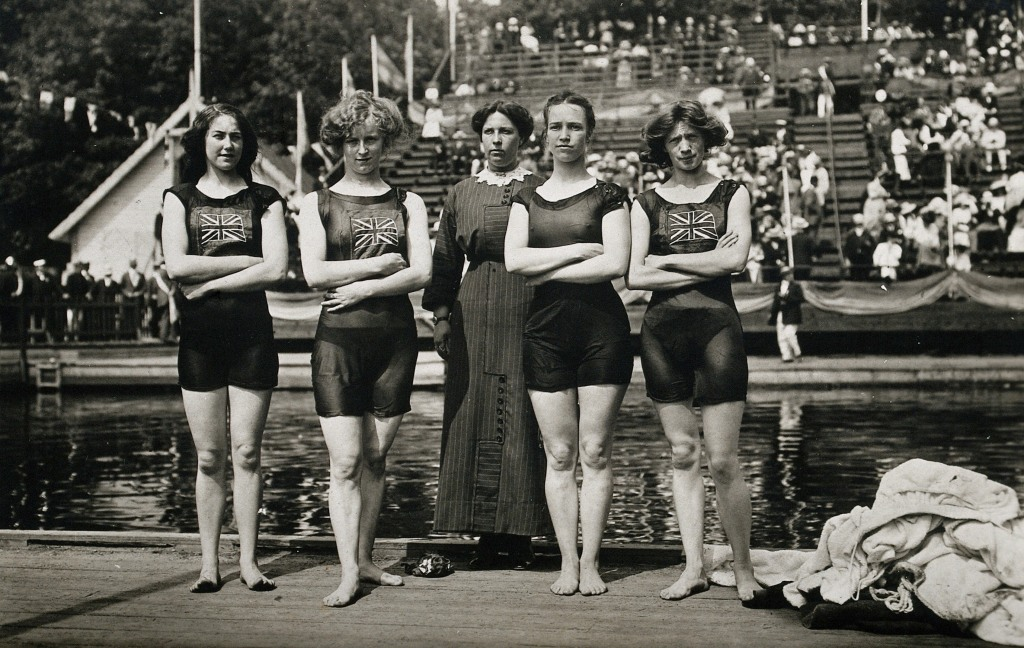 British 4X100 m freestyle team at the 1912 Olympics, with a chaperone in the middle. From left to right: Belle Moore, Jennie Fletcher, Annie Speirs, Irene Steer. (Photo by Bob Thomas)
