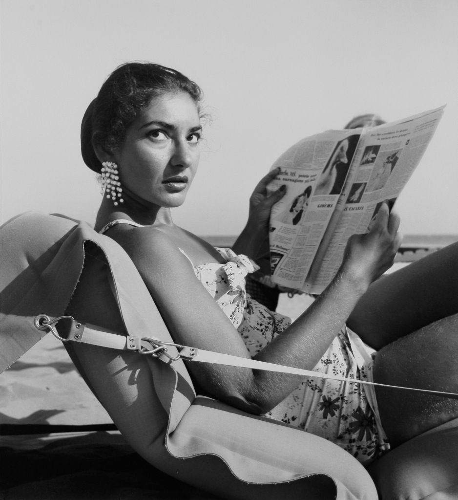 Maria Callas on Venice Lido beach, Italy 1956 (Archivio Cameraphoto Epoche)
