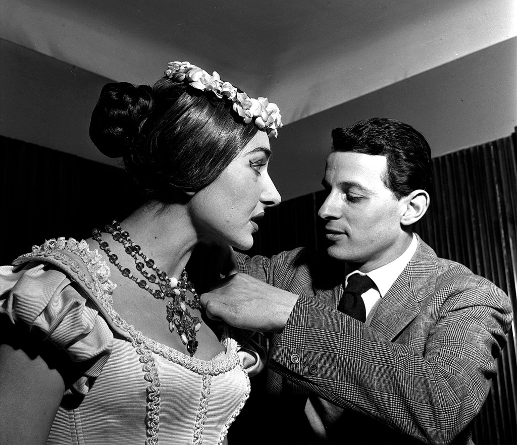 Piero Tosi & Maria Callas behind the scenes of La Sonnambula directed by Luchino Visconti in the Teatro alla Scala, 1955 (Erio Piccagliani)