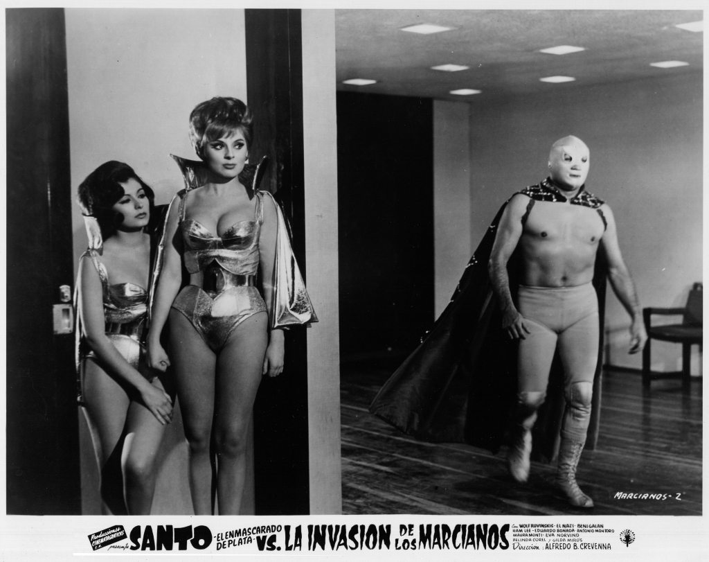 "Santo with Gilda Miros & Belinda Corel in ""Santo vs The Martian Invasion"", 1967"