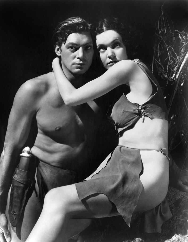 "Johnny Weissmuller and Maureen O'Sullivan in ""Tarzan and His Mate"", 1934"