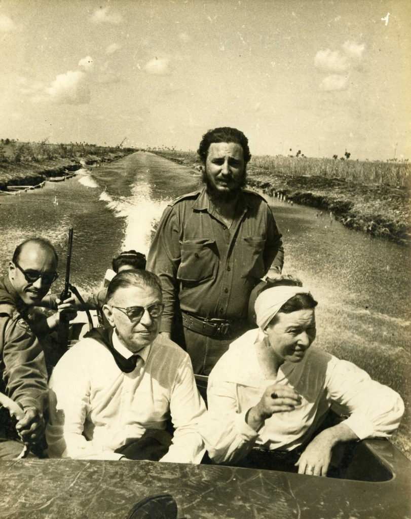 Fidel Castro, Jean Paul Sartre and Simone de Beauvoir with Celia Sanchez and Juan Arcocha in the Cienaga de Zapata, Cuba. (Photo by Alberto Korda) October 1960