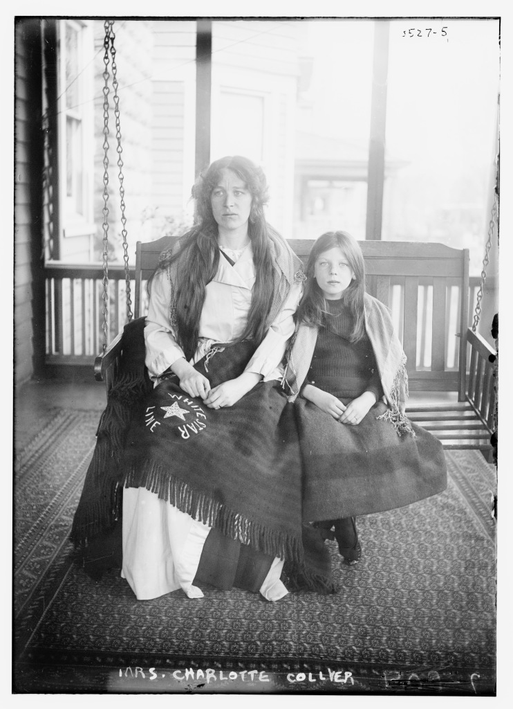 Mrs. Charlotte Collyer with her daughter Marjorie. They survived the sinking of the Titanic on April 15, 1912. (San Francisco Call, June 2, 1912 - Library of Congress)
