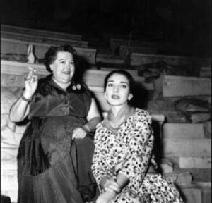 Elvira de Hidalgo & Maria Callas, in Odeon of Herodes Atticus, Athens, 1950